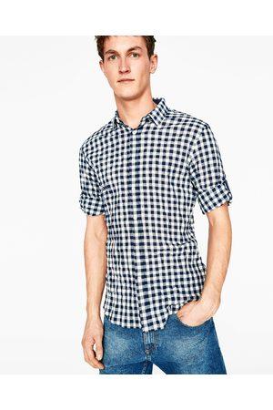 Heren Overhemden - Zara GERUIT OVERHEMD MET MOUWOPHOUDERS - In meer kleuren beschikbaar