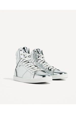 Heren Sneakers - Zara ZILVERKLEURIGE SNEAKERS MET ENKELSLUITING