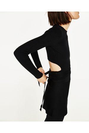 Dames Truien - Zara CROPPED TRUI MET BANDJES - In meer kleuren beschikbaar