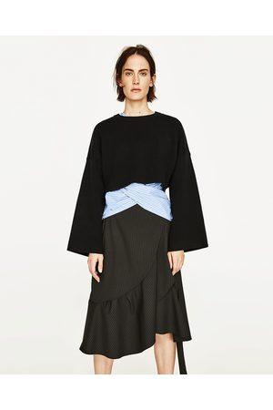 Dames Sweaters - Zara CROPPED SWEATSHIRT MET WIJDE MOUWEN