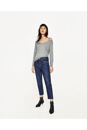 Dames Truien - Zara TRUI MET OPENGEWERKTE V-HALS - In meer kleuren beschikbaar