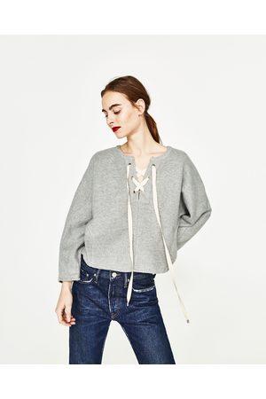 Dames Sweaters - Zara SWEATSHIRT MET VLEERMUISMOUWEN
