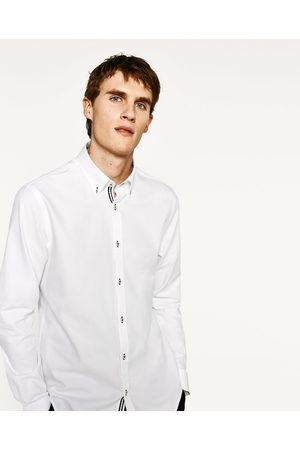 Heren Overhemden - Zara OVERHEMD MET CONTRASTERENDE BAND - In meer kleuren beschikbaar