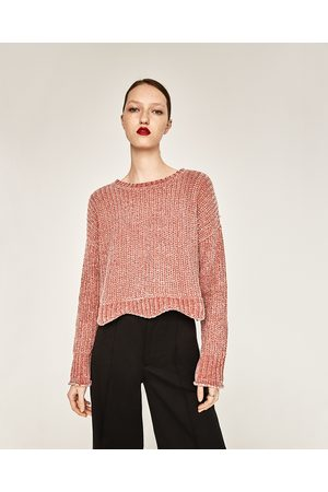 Dames Truien - Zara CROPPED TRUI MET RONDE HALS - In meer kleuren beschikbaar