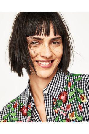 Dames Blouses - Zara OVERHEMD MET VICHY RUITEN EN BORDUURSEL