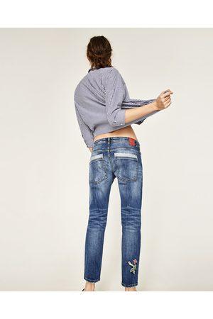 Dames Jeans - Zara RELAXED FIT JEANS MET BLOEMEN