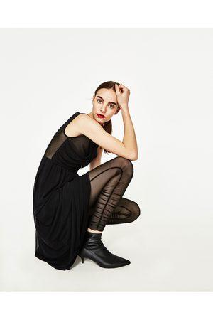 Dames Leggings & Treggings - Zara TRANSPARANTE LEGGING MET GEDRAPEERD ACCENT