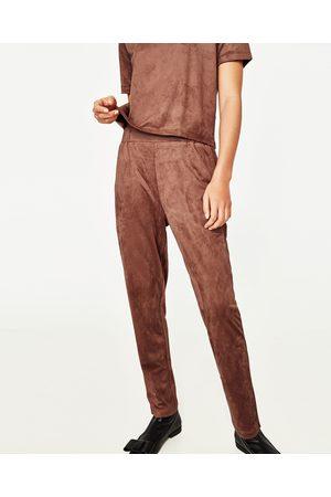 Dames Joggingbroeken - Zara JOGGINGBROEK IN SUÈDE LOOK - In meer kleuren beschikbaar