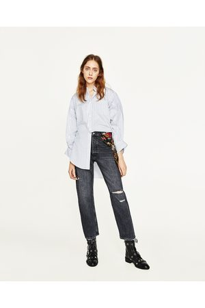 Dames Jeans - Zara JEANS MET HOGE TAILLE EN SJAALTJE MET PRINT