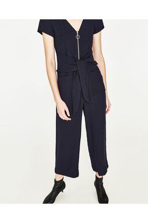 Dames Jumpsuits - Zara CROPPED JUMPSUIT MET RITS