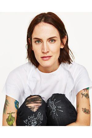 Dames Jeans - Zara BEDRUKTE JEANS MET HALFHOGE TAILLE
