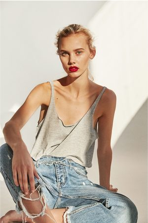 Dames Jeans - Zara CROPPED JEANS IN STRAIGHT FIT MET LAGE TAILLE