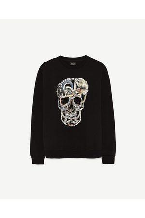 Heren Sweaters - Zara SWEATSHIRT MET DOODSHOOFD EN SLANGEN