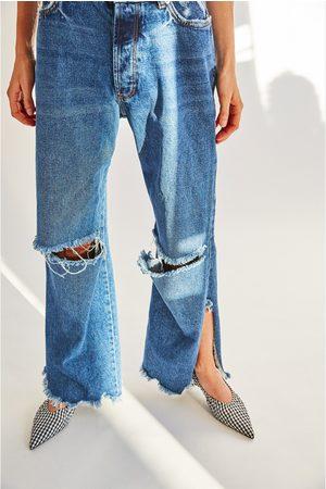 Dames Jeans - Zara JEANS IN STRAIGHT FIT MET HOGE TAILLE EN SCHEUREN