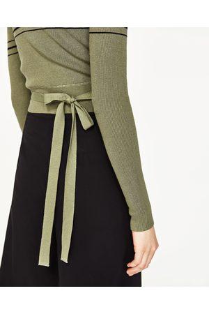 Dames Truien - Zara CROPPED TRUI MET STREPEN - In meer kleuren beschikbaar
