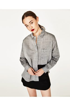 Dames Blouses - Zara OVERSIZED OVERHEMD MET BORDUURSEL - In meer kleuren beschikbaar