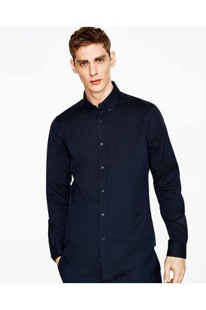 Heren Overhemden - Zara OVERHEMD MET CONTRASTEREND BANDJE - In meer kleuren beschikbaar