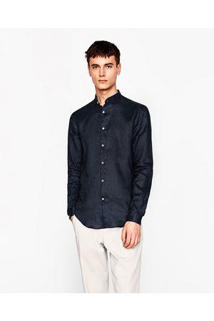 Heren Overhemden - Zara LINNEN OVERHEMD MET MAOKRAAG - In meer kleuren beschikbaar