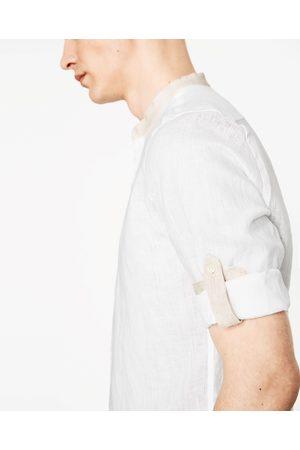 Heren Overhemden - Zara LINNEN OVERHEMD MET MOUWOPHOUDERS