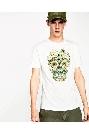 Heren Shirts - Zara T-SHIRT MET DOODSHOOFD EN LOVERTJES - In meer kleuren beschikbaar