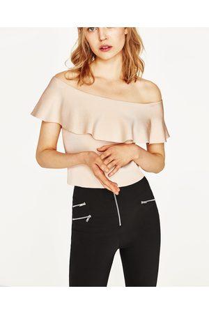 Dames Strapless tops - Zara BANDEAUTOP MET VOLANT - In meer kleuren beschikbaar