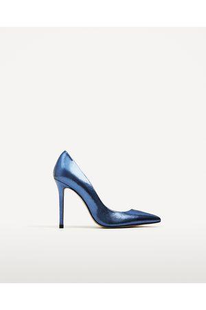 Dames Pumps - Zara LEREN BLAUWE GEMETALLISEERDE PUMPS - In meer kleuren beschikbaar