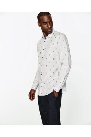 Heren Overhemden - Zara OVERHEMD MET PALMBOMEN