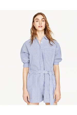 Dames Jumpsuits - Zara STRIPED EMBROIDERED JUMPSUIT