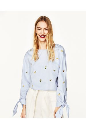 Dames Tops - Zara EMBROIDERED CROPPED TOP