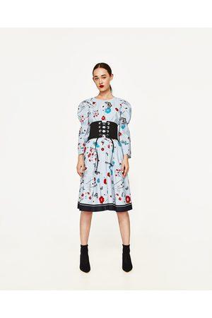 Dames Geprinte rokken - Zara GESTREEPTE ROK MET BLOEMENPRINT