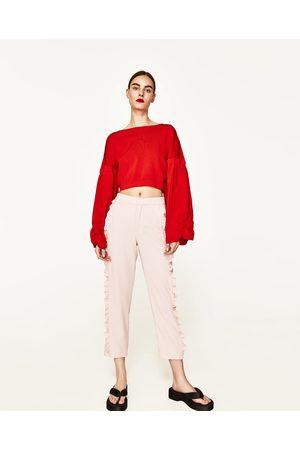 Dames Wijde broeken - Zara WIJDE BROEK MET VOLANT - In meer kleuren beschikbaar