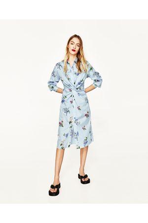 Dames Geprinte jurken - Zara TUNIEK MET PRINT EN KNOOPACCENT