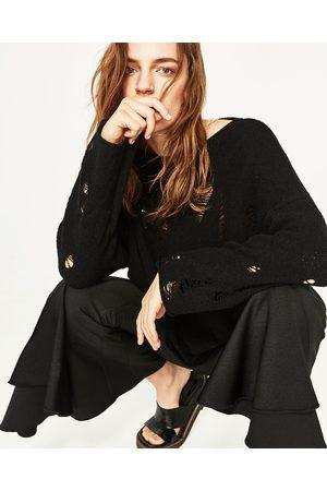 Dames Truien - Zara TRUI MET BOOTHALS EN SCHEUREN - In meer kleuren beschikbaar
