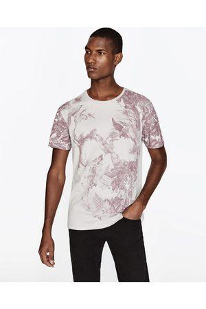 Heren Shirts - Zara T-SHIRT MET DOODSHOOFD
