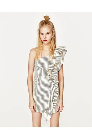 Dames Asymmetrische jurken - Zara ASYMMETRISCHE DENIM JURK MET STREPEN