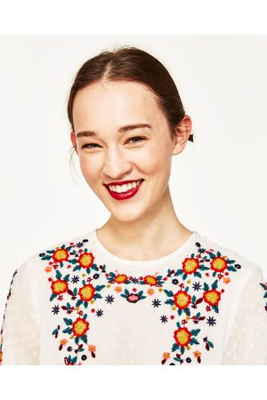 Dames Blouses - Zara PLUMETTIS BLOUSE MET BORDUURSEL