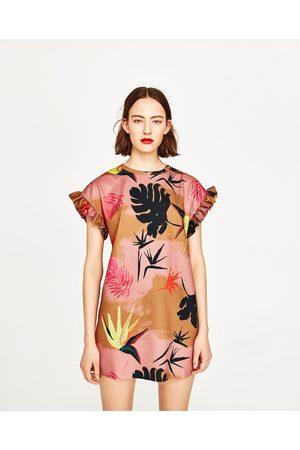 Dames Geprinte jurken - Zara JURK MET TROPISCHE PRINT