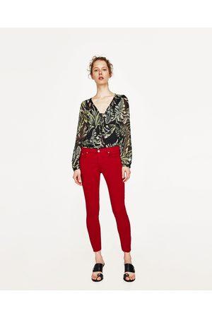 Dames Jeans - Zara JEANS MET HALFHOGE TAILLE EN RAFELS