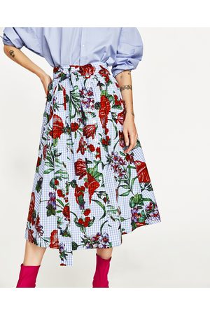 Dames Geprinte rokken - Zara ROK MET VICHYRUIT EN BLOEMENPRINT