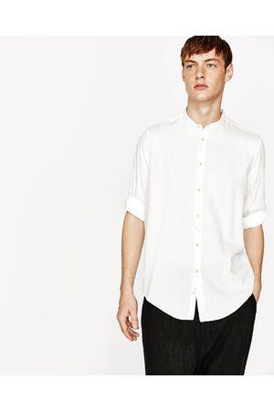 Heren Overhemden - Zara SEERSUCKER BLOUSE MET MAOKRAAG - In meer kleuren beschikbaar