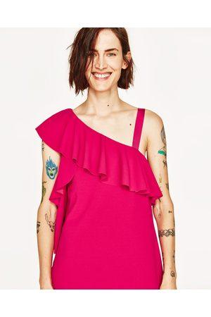 Dames Asymmetrische jurken - Zara JURK MET ASYMMETRISCHE VOLANT