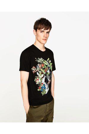 Heren Shirts - Zara T-SHIRT MET DOODSHOOFD EN BLOEMEN - In meer kleuren beschikbaar