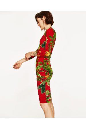 Dames Geprinte jurken - Zara GEDRAPEERDE JURK MET TROPISCHE PRINT