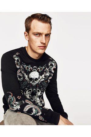 Heren Sweaters - Zara SWEATSHIRT MET DOODSHOOFD