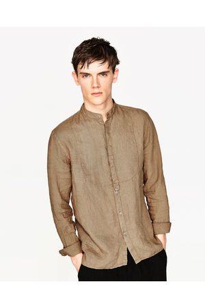 Heren Overhemden - Zara LINNEN OVERHEMD MET BORSTSTUK - In meer kleuren beschikbaar
