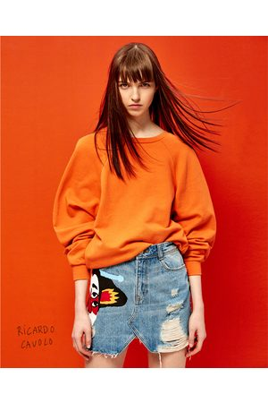 Dames Korte & Mini rokken - Zara DENIM MINIROK MET SCHEUREN EN JAPANSE ILLUSTRATIE