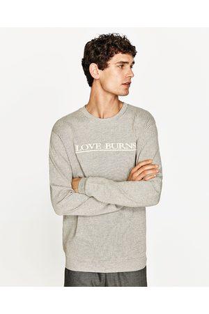 Heren Sweaters - Zara SEERSUCKER SWEATSHIRT MET TEKST