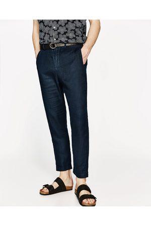 Heren Broeken - Zara LINNEN BROEK IN CROPPED MODEL - In meer kleuren beschikbaar