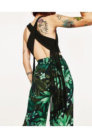 Dames Tops & Shirts - Zara TOP MET GEKRUISTE SCHOUDERBANDJES MET FRANJES