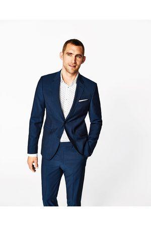 Heren Blazers & Colberts - Zara Inktblauwe kostuumblazer van mohair